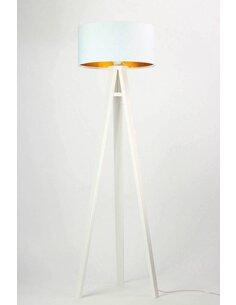 Lampadaire GLAMOUR Velours Blanc avec Intérieur Doré - par BPS Koncept