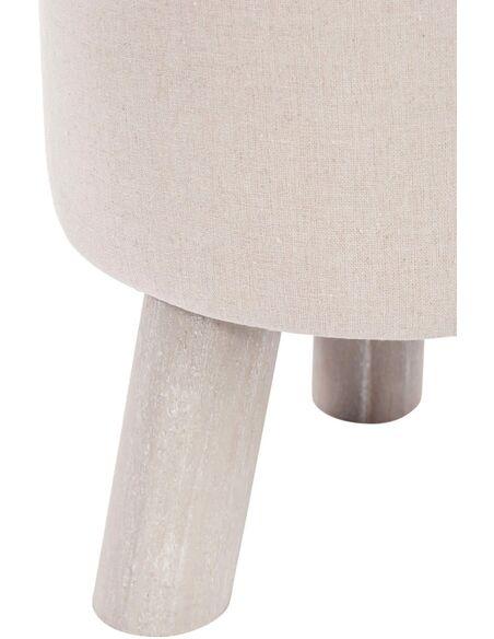 Pouf rond 3 pieds coton beige ALLEENA - par J-Line