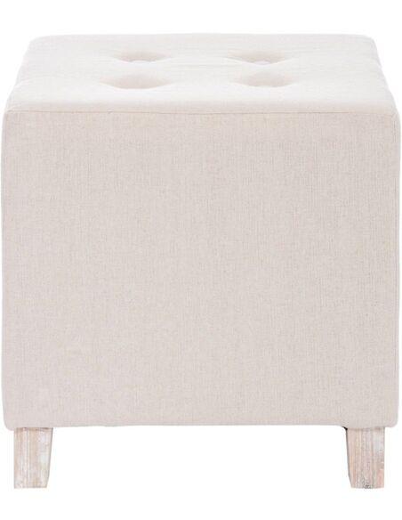Pouf carrée bouton coton beige ALLENDALE - par J-Line