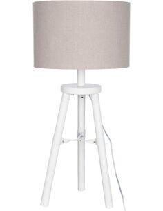 Lampe de salon trepied bois blanc ALMA - par J-Line