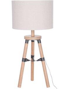 Lampe trepied bois naturel/beige s Lampes de salon J-Line