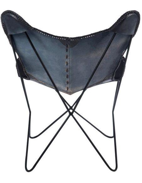 Fauteuil papillon lounge cuir BAGNOO - par J-Line