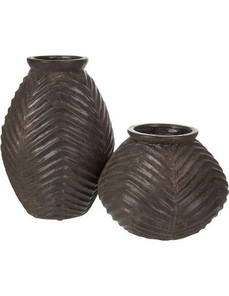 Vase haut lignes terre cuite marron BARKLY - par J-Line