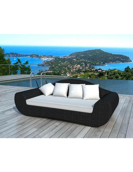 Canapé de Jardin DELORM BLACK Résine Tressée - par Delorm