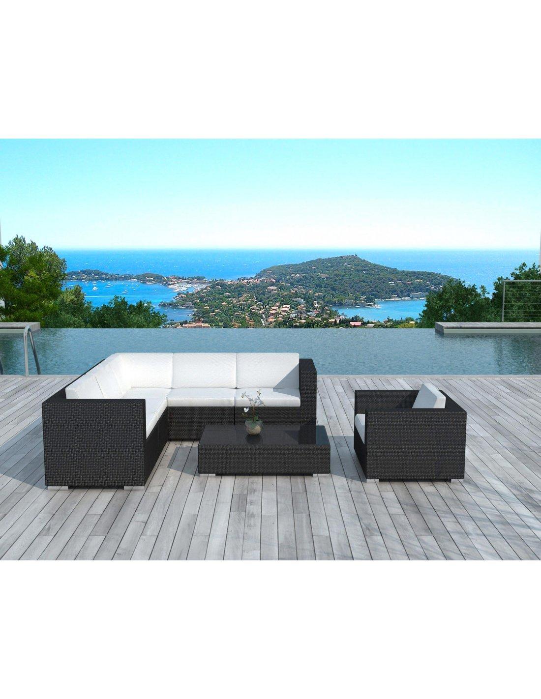salon de jardin d 39 angle delorm black r sine tress e. Black Bedroom Furniture Sets. Home Design Ideas