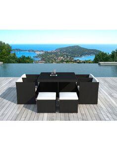 x4 Chaises + 4 poufs + table de Jardin DELORM BLACK - par Delorm