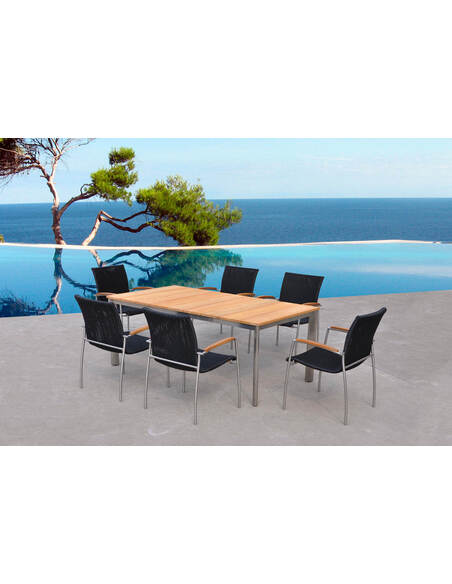 x6 Chaises + table MELBOURNE Résine et Teck - par Delorm