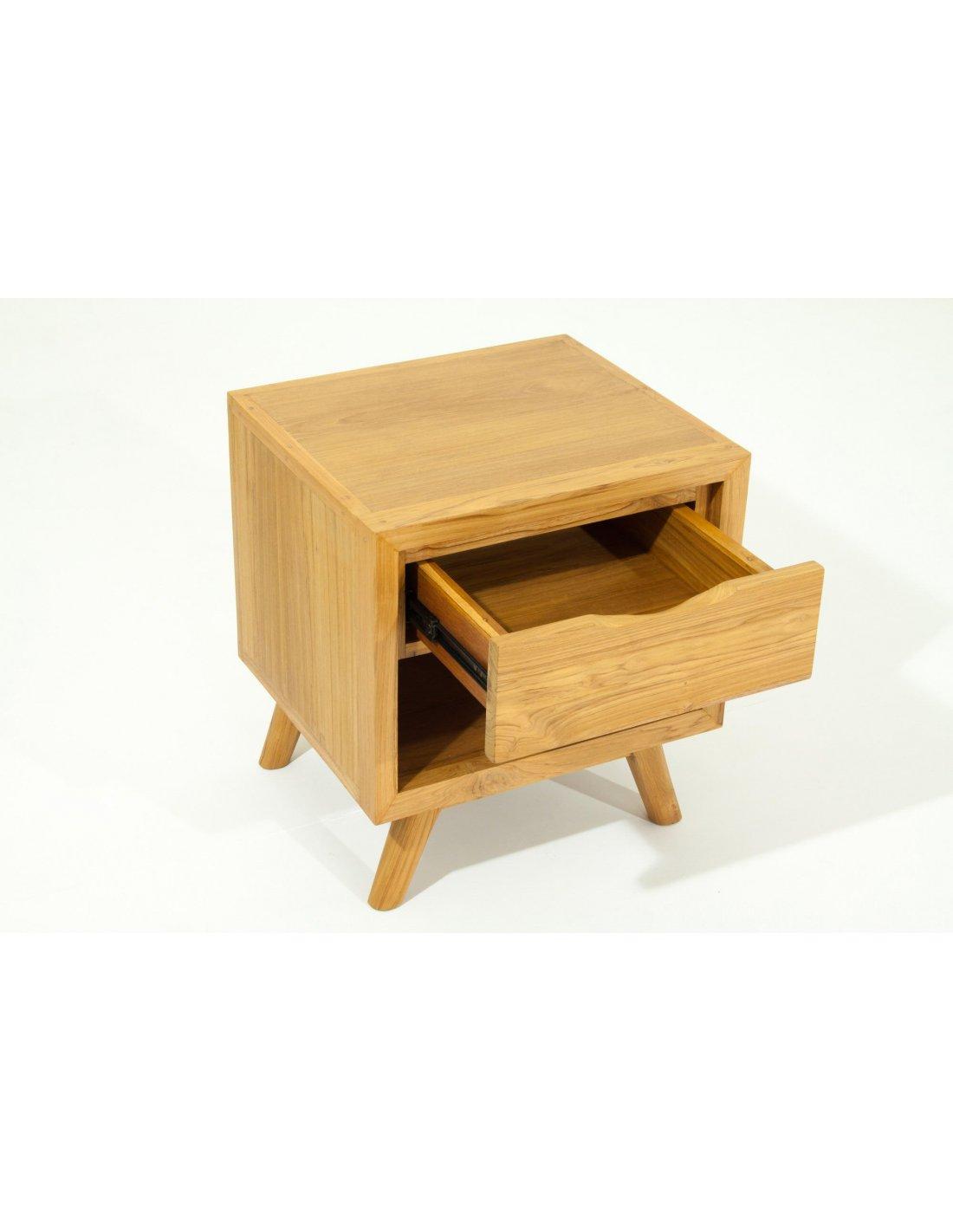 Table de chevet etn fiftees teck massif delorm bois clair - Table de chevet chene clair ...