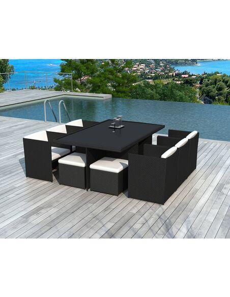 x8 fauteuils + 4 poufs + tables jardin DELORM BLACK | Delorm | Noir