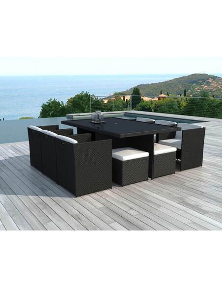 x8 fauteuils + 4 poufs + tables jardin DELORM BLACK - par Delorm
