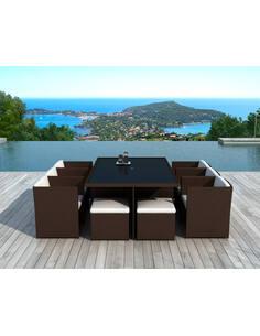 x8 fauteuils + 4 poufs + tables jardin DELORM CHOCO - par Delorm