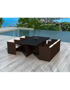 x8 fauteuils + tables jardin DELORM CHOCO - par Delorm