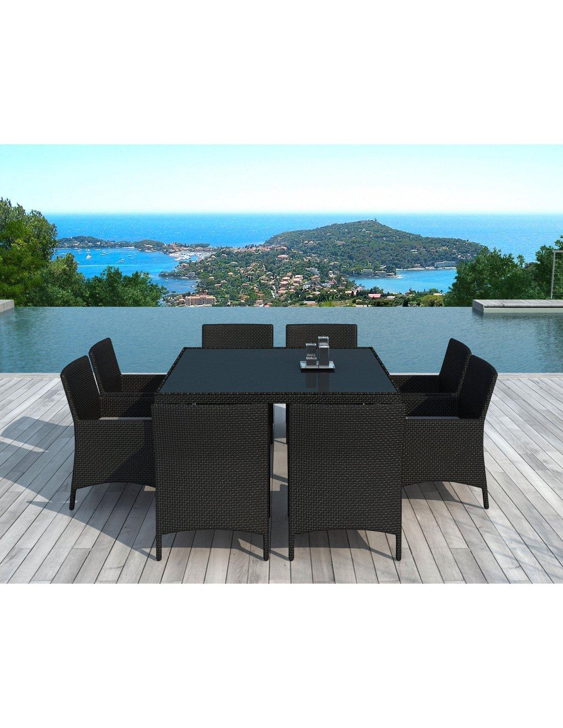x8 Chaises + table de Jardin SD8216 Résine Tressée | Delorm | Noir