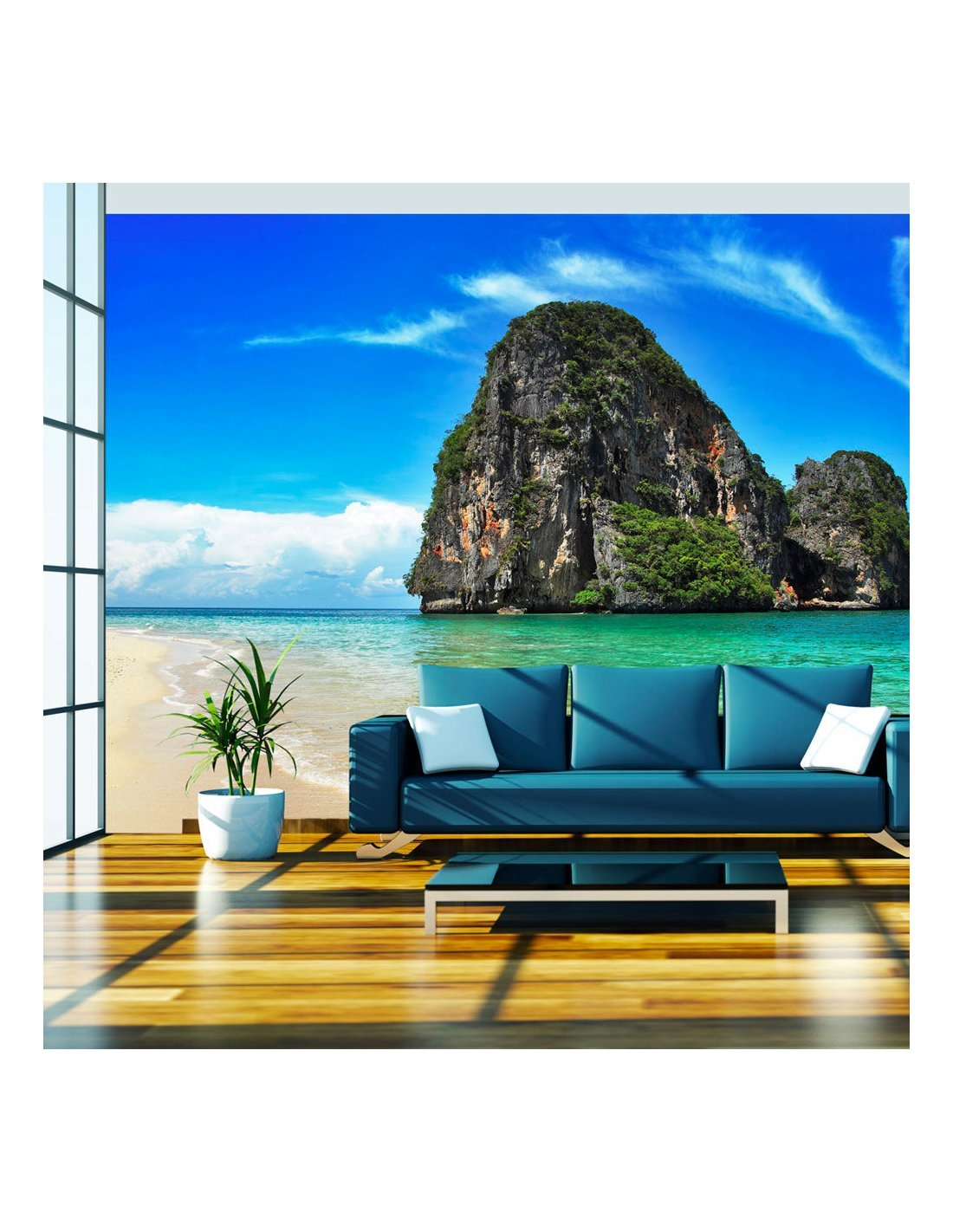 papier peint paysage exotique plage railay tha lande 89 90 ch. Black Bedroom Furniture Sets. Home Design Ideas