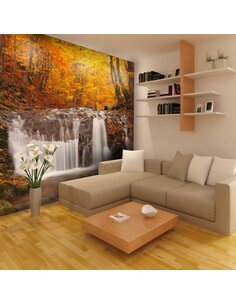 Papier peint AUTUMN LANDSCAPE : WATERFALL IN FOREST - par Artgeist