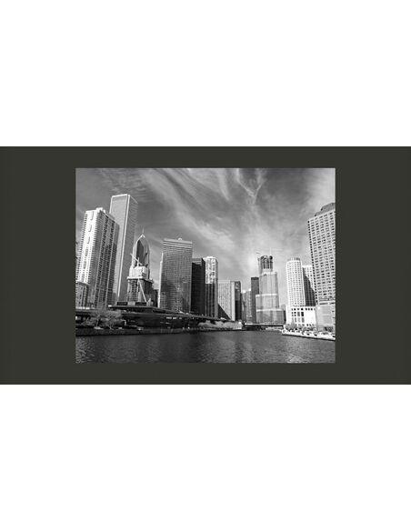 Papier peint PANORAMA DE CHICAGO EN N&B - par Artgeist