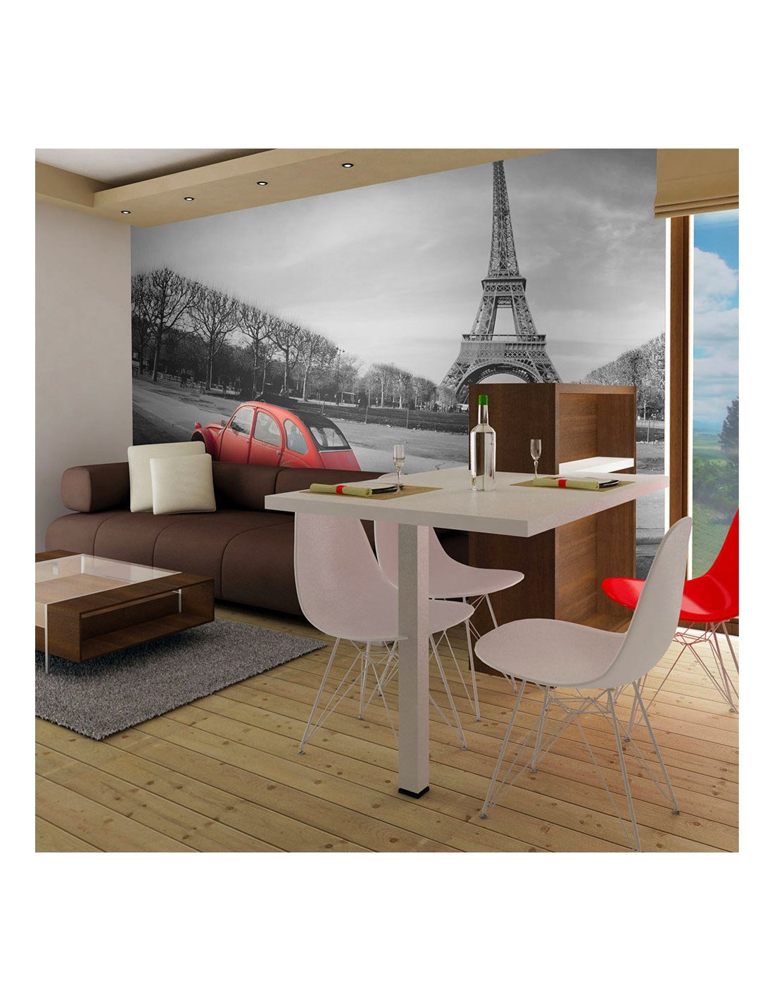 papier peint tour eiffel et voiture rouge artgeist. Black Bedroom Furniture Sets. Home Design Ideas