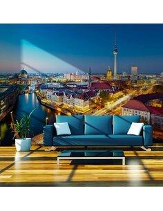 Papier peint BERLIN VIEW FROM FISCHERINSEL BY NIGHT - par Artgeist