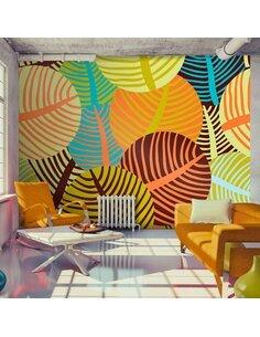 Papier peint COLLAGE: FEUILLES - par Artgeist