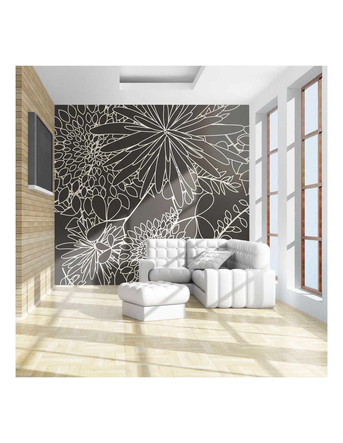Papier Peint A Rayure Gris Et Blanc papier peint motif floral en n&b | artgeist | gris