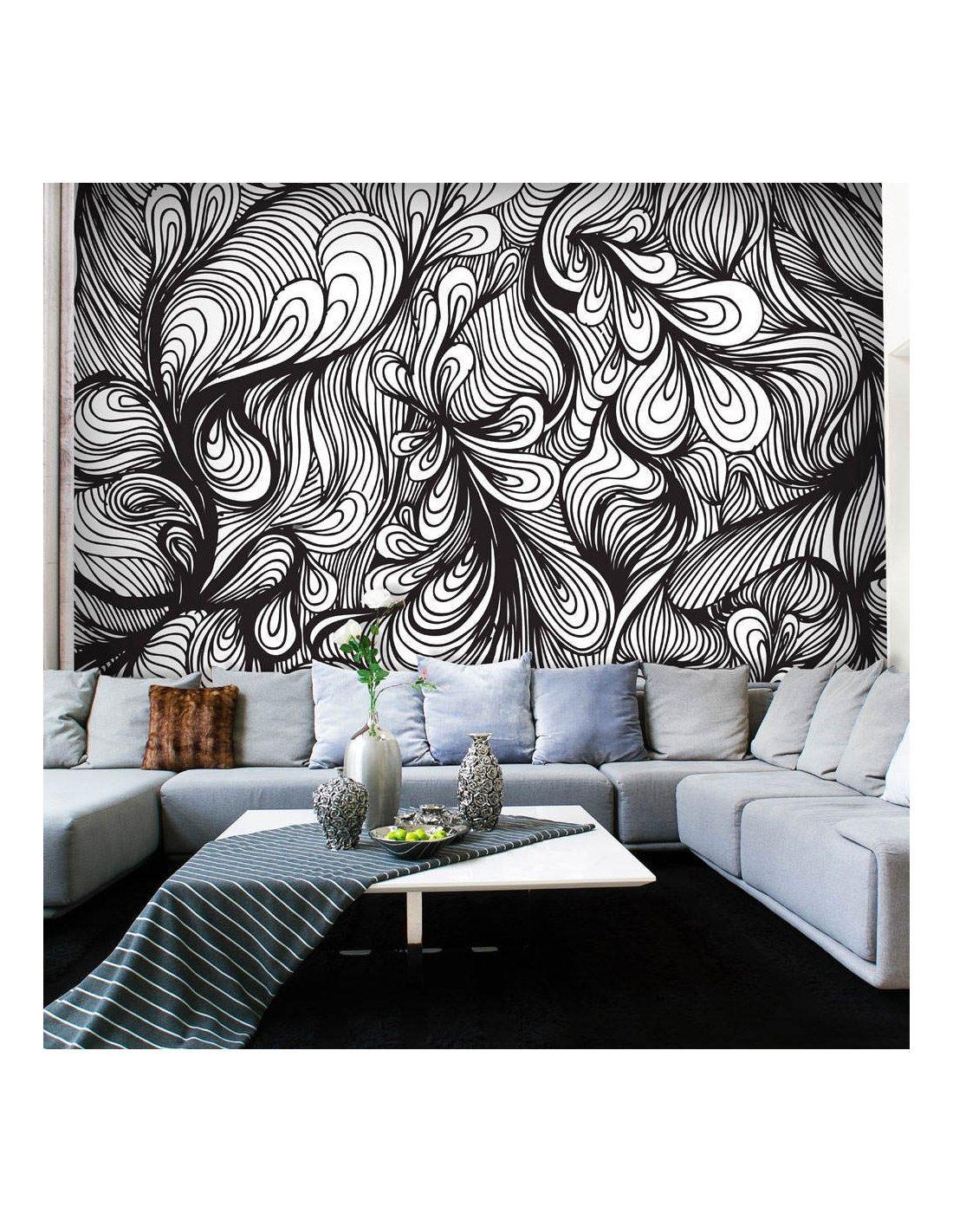 papier peint noir et blanc style r tro 89 90 chez. Black Bedroom Furniture Sets. Home Design Ideas