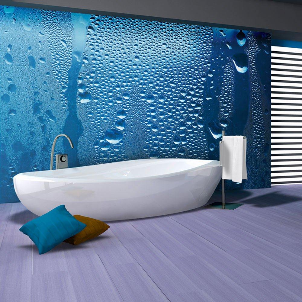 Papier Salle De Bain papier peint gouttes d'eau sur verre bleu | artgeist | bleu