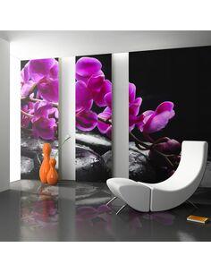 Papier Peint Moment De Détente : Orchidée Et Pierres Zen  Orchidées Artgeist