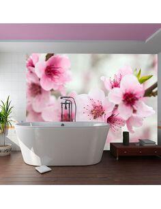 Papier peint CERISIER EN FLEURS AVEC PETITES FLEURS ROSES - par Artgeist