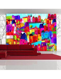Papier peint RAINBOW-HUED TOWN - par Artgeist