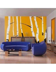 Papier Peint Birches On The Orange Background  Arbres Artgeist