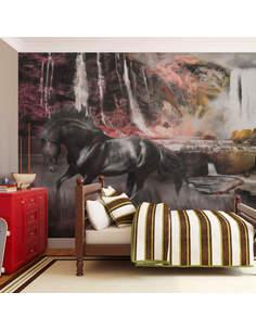 Papier peint CHEVAL NOIR ET CASCADE - par Artgeist