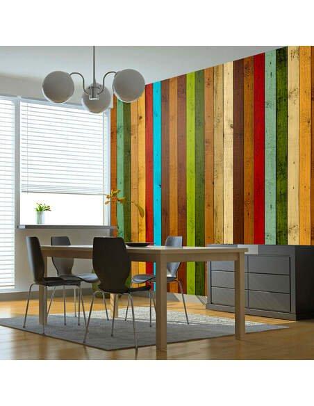 Papier Peint Wooden Rainbow  Bois Artgeist