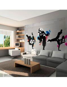 Papier peint MONKEY DANCE STREET ART - par Artgeist