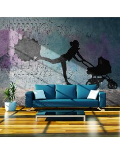 Papier peint FEMME AVEC POUSSETTE - par Artgeist