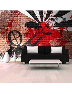 Papier peint GRAFFITI SUR UN MUR DE BRIQUE - par Artgeist