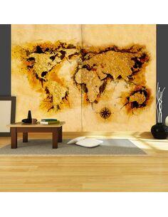 Papier peint GOLD-DIGGERS' MAP OF THE WORLD - par Artgeist