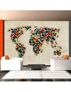 Papier peint WORLD MAP A KALEIDOSCOPE OF COLORS - par Artgeist