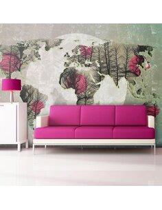 Papier peint MAP OF THE WORLD HOWLING TO THE MOON - par Artgeist