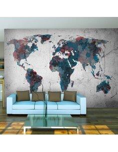 Papier peint WORLD MAP ON THE WALL - par Artgeist