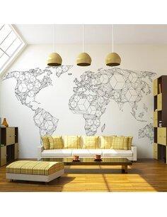 Papier peint MAP OF THE WORLD WHITE SOLIDS - par Artgeist