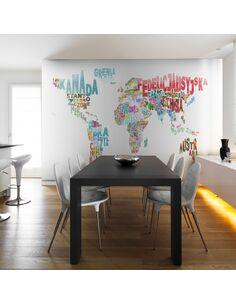 Papier peint CARTE MONDE EN FRANÇAIS - par Artgeist