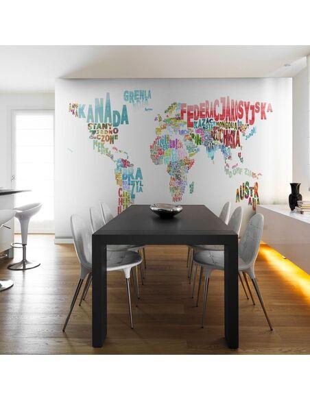 papier peint carte monde en fran ais 89 90 chez. Black Bedroom Furniture Sets. Home Design Ideas
