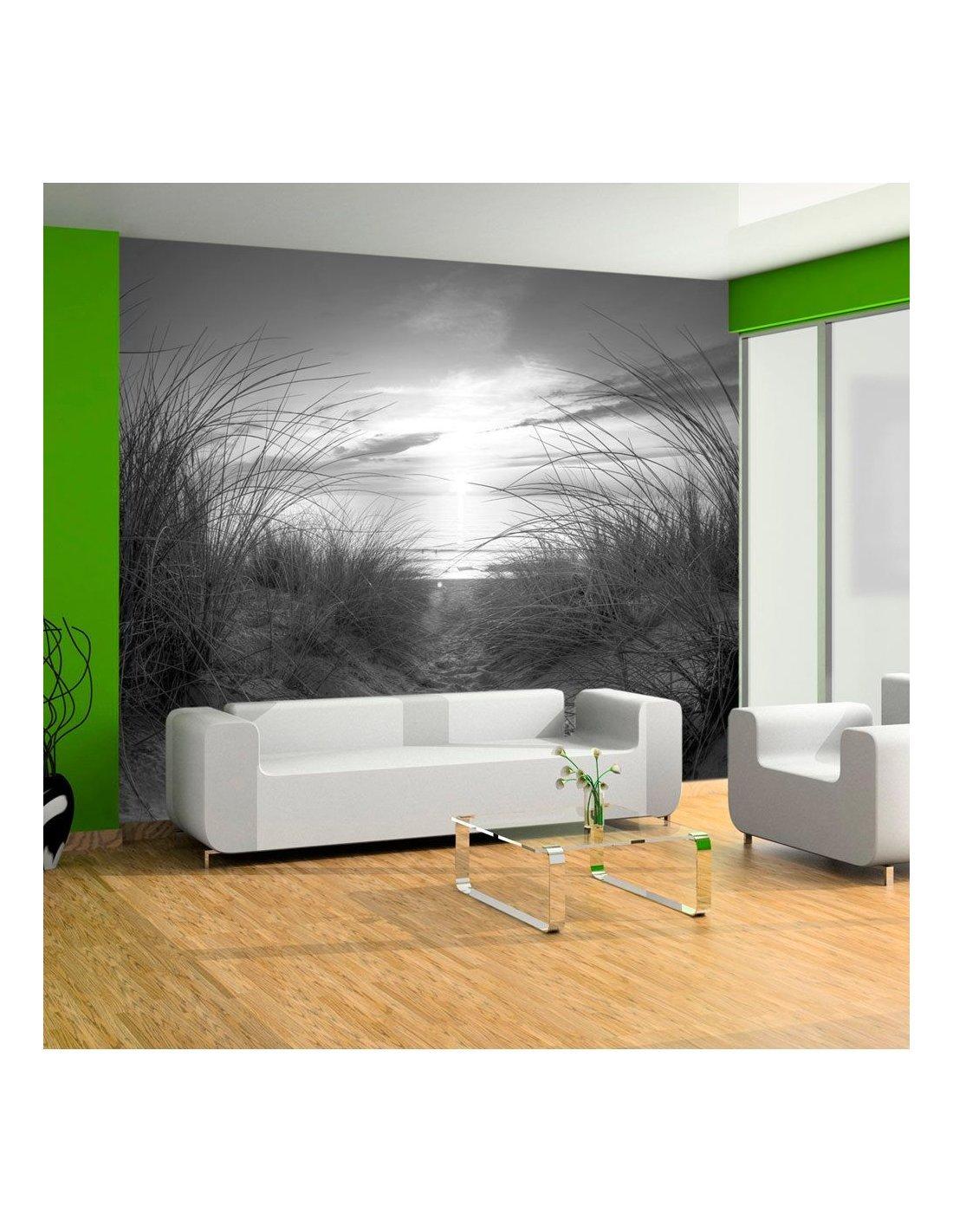 papier peint plage noir et blanc 99 90 chez recollection. Black Bedroom Furniture Sets. Home Design Ideas