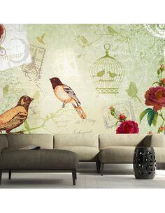 Papier peint VINTAGE BIRDS - par Artgeist