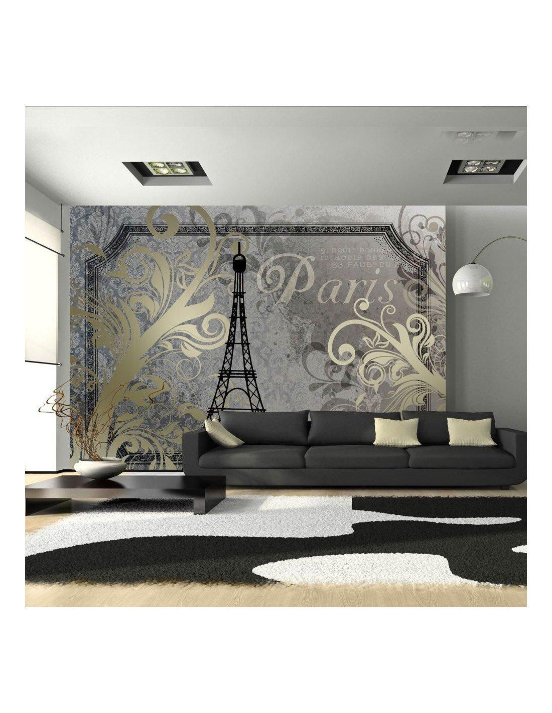 Papier peint papier Papier peint Paris Tour Eiffel Vintage-Script noir et blanc