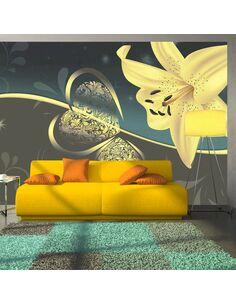Papier peint LILY IN SHADES OF GRAY - par Artgeist