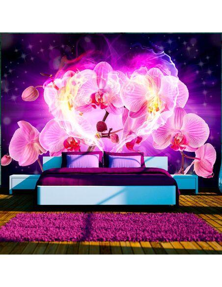 Papier peint ORCHIDS IN FLAMES - Orchidées par Artgeist
