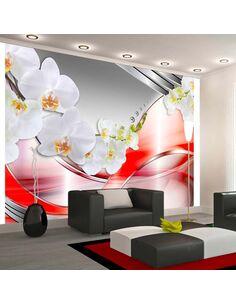Papier peint ORANGE WAVE OF ORCHIDS - par Artgeist