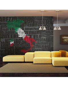 Papier peint TEXT MAP OF ITALY - par Artgeist