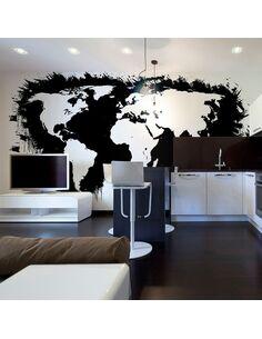 Papier peint WHITE CONTINENTS, BLACK OCEANS... - par Artgeist